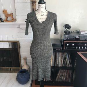 BCBGMaxAzria SHAY Sweater Like V-Neck Dress